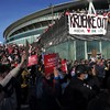 Thousands of Arsenal fans gather to protest against club's owners