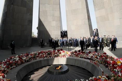 Armenian prime minister Nikol Pashinyan attends a memorial service