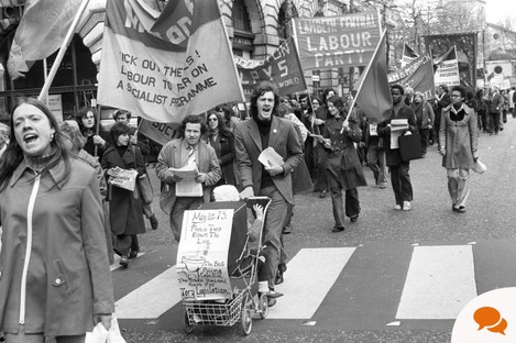 May Day protest against the Industrial Relations Act passing down the Strand in London.1973