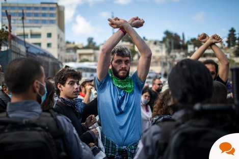 09 April 2021 Jerusalem: Israeli and Palestinian activists during a protest against the eviction of Palestinian families from their homes at the neighbourhood of Sheikh Jarrah.