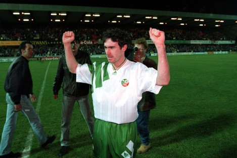 Alan McLoughlin celebrates after his famous goal against Northern Ireland.