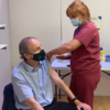 Taoiseach Micheál Martin receives his first dose of Covid-19 vaccine in Cork this morning