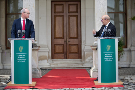 French Foreign Minister Jean-Yves Le Drian and Simon Coveney during a press conference