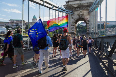 The Budapest Pride parade in 2017 on the Chain Bridge