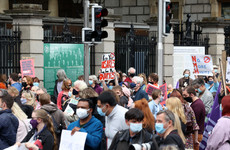 Crowds gather to protest against Catholic ownership of National Maternity Hospital site