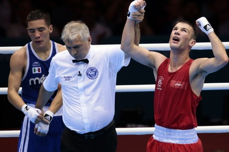 Boxer John Joe Nevin after his victory over Oscar Valdez Fierro of Mexico last night, securing a medal.