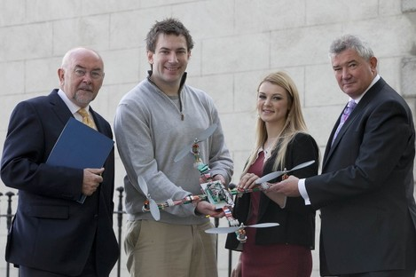Education minister Ruairí Quinn (left) and Bank of Ireland chief executive Richie Boucher (right) launch the bank's new postgraduate loan scheme, with TCD students Conor McGinn and Jade Pollock.