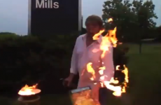 VIDEO: Protestor gets more fire than he bargained for