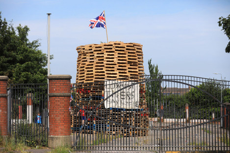 A bonfire in the loyalist Tiger's Bay area has caused controversy (Peter Morrison/PA)