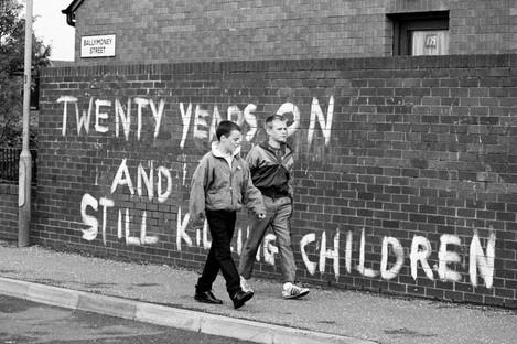 'Twenty years on and still killing our children' on Ballymoney Street in Belfast, August 1989.