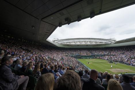 A general view of spectators watching Wimbledon.
