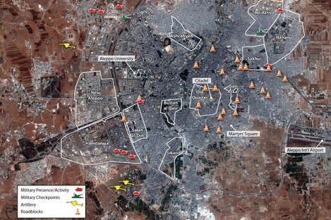 Amnesty International map showing military activity in Aleppo between 23 July and 1 August 2012.