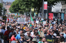 Protest in Dublin city centre against vaccines and new Covid Certs