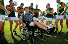 O'Leary celebrates with Kerry team-mates two weeks after serious car crash