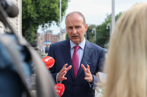 Taoiseach Micheál Martin outside Government buildings this morning.