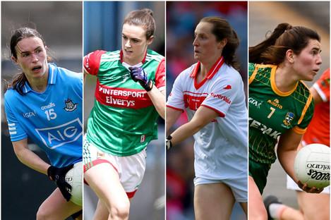 The captains: Sinéad Aherne (Dublin), Clodagh McManamon (Mayo), Martina O'Brien (Cork) and Shauna Ennis (Meath).