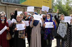 Afghan women stage protest outside presidential palace in Kabul