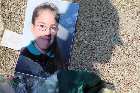 A makeshift memorial to Tia Sharp in New Addington