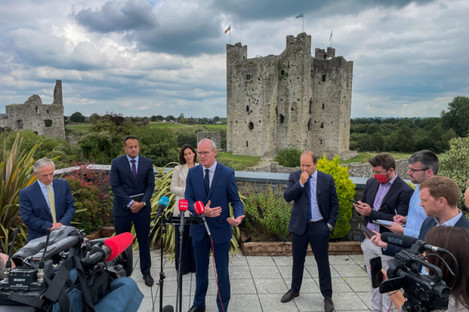 Simon Coveney speaking to the media in Trim this afternoon.