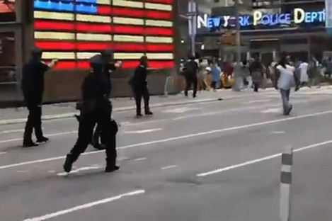 Screengrab of police officers approaching the man