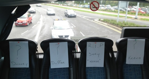 This is what the back of the Ireland team bus looks like today...
