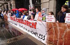 Children protest outside Dáil calling for 100% Mica redress scheme