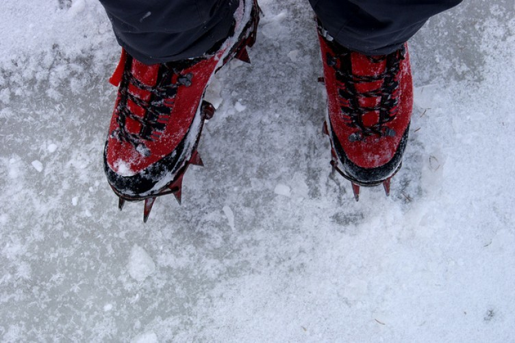 The climber had attempted to tackle the glacier without crampons, pictured above.
