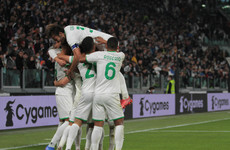Sassuolo shock Juve while Inter and Roma win to cling onto leaders