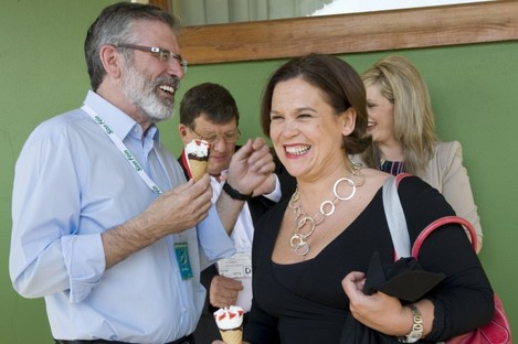 Gerry Adams takes a short ice-cream break with Mary Lou McDonald at the Sinn Féin Ard Fheis on 26 May this year. One of the dates he is listed 'absent' from a Dáil sitting is Thursday, 24 May - his diary says he was preparing for the Ard Fheis which began the next day.