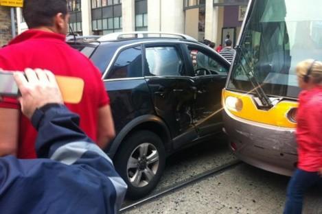This evening's Luas crash in Dublin city centre.