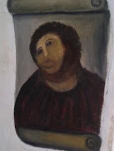 Old lady decides to restore 19th century Spanish fresco...