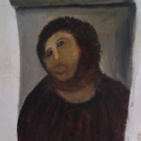 Old lady decides to restore 19th century Spanish fresco...