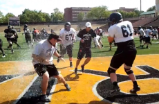 VIDEO: College training session turns to water balloon warfare