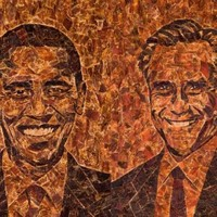 Bizarre meat portraits of Obama and Romney