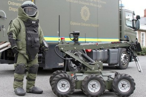 File photo of a member of the bomb squad with Defence Forces equpment.
