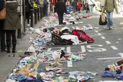 Litter is abandoned on Dame St during Barack Obama's visit in May 2011. Dublin's north inner city has been declared a litter blackspot in the latest IBAL report.
