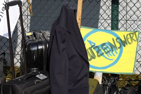 Luggage of crew members of the Lufthansa airline is pictured during a six hours strike at the Tegel Airport in Berlin, Germany