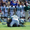 American football: College player hurt in helmet hit