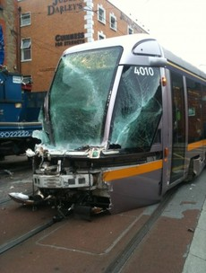 Two hospitalised after Luas tram collides with refuse truck