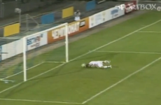 VIDEO: Aleksei Sapogov gets on his hands and knees to score a header