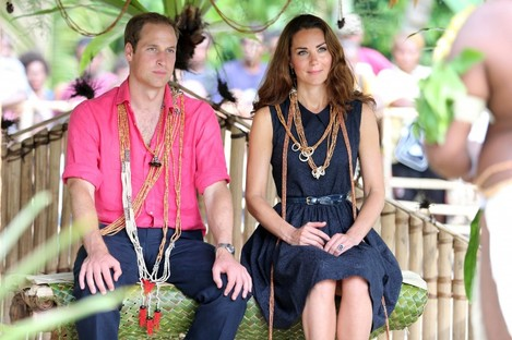 Prince William and Kate Middleton in the Solomon Islands yesterday