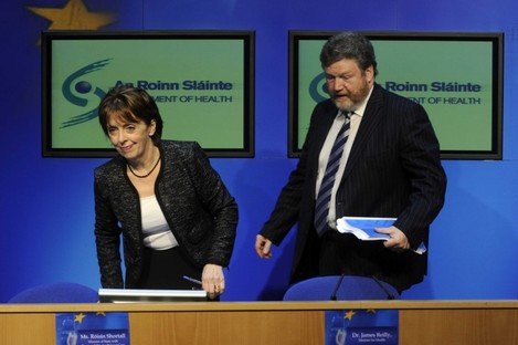 "Róísín Shortall and James Reilly brief reporters after the 2012 Budget. Reilly told a local meeting last night that ""pressure's only for tyres"", just hours after Shortall quit as his junior minister."