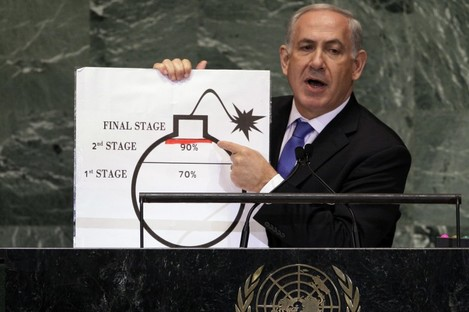 Prime Minister Benjamin Netanyahu of Israel shows an illustration as he describes his concerns over Iran's nuclear ambitions.