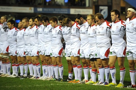 Ulster players during the minute silence in memory Nevin Spence