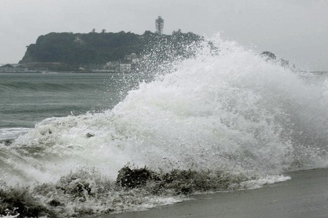 Crashing waves on the beach in Kamakura, south of Tokyo in 2010 when Typhoon Chaba hit the mainland.