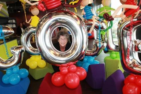 Pauline O'Connor among the Google balloons earlier today