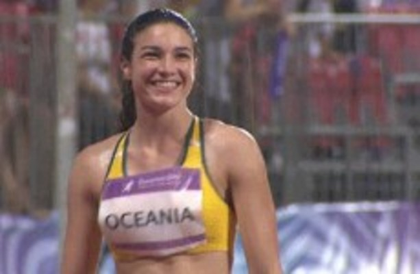 GIF of Michelle Jenneke doing her warm-up dance in the ...