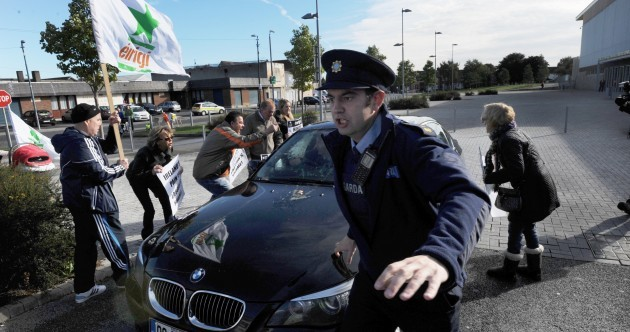 VIDEO, PHOTOS: Eamon Gilmore's car egged by protesters in Dublin