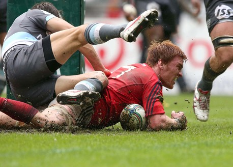 Sean Dougall dives over for his first-half try.