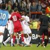 VIDEO: Violent brawls mar England Under 21s' win over Serbia
